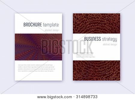 Minimalistic Cover Design Template Set. Orange Abstract Lines On Wine Red Background. Enchanting Cov