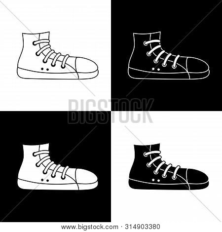 Cute Cartoon Sneaker Illustration Set. Funny Vector Black And White Sneaker Illustration Set. Isolat