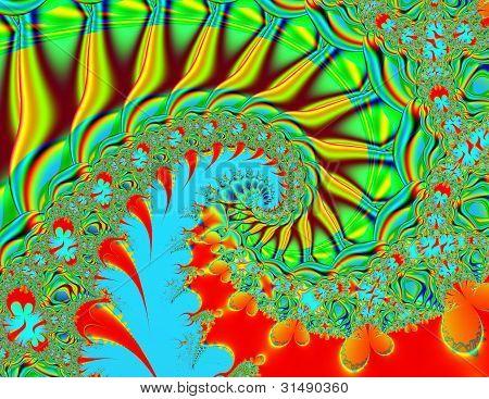 Vibrant swirl fractal background