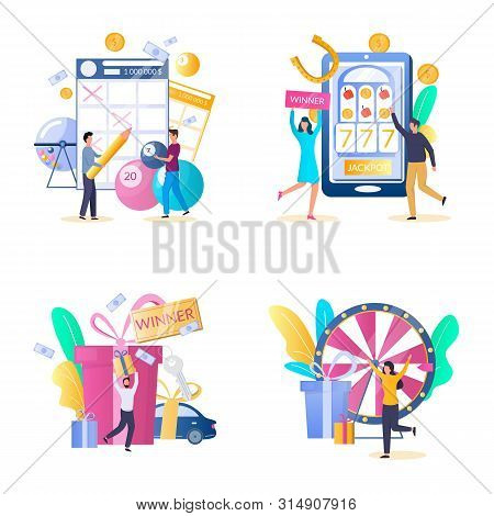 Lottery Gambling Icon Set, Vector Isolated Illustration