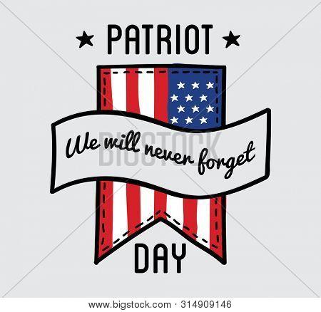 Patriot day  label or baner. September 11. 911.  Illustration.