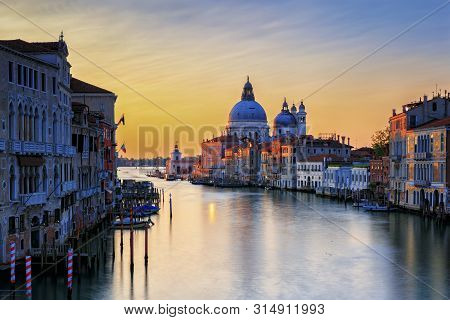 Venice At Sunset In The Accademia Bridge