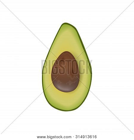 Avocado Ripe Raw Halved Fruit With Seed. Persea Americana Exotic. Green Peel. Juicy, Isolated On Whi