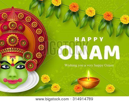 Onam Festival Background For South India Kerala Traditional Celebration. Onam Kathakali Dancer With