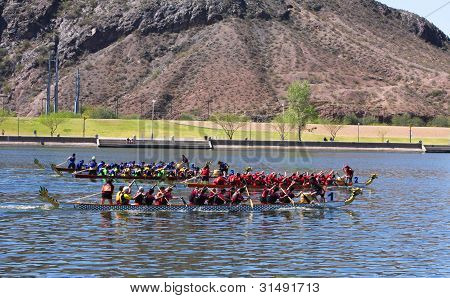 Three Boats Race During The Dragon Boat Festival At Tempe Town Lake