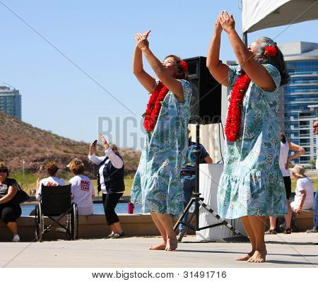 Two Women Dance During The Dragon Boat Festival In Tempe