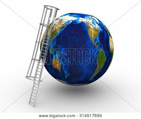 The Conquest Of Planet Earth. Ladder Leans On A Globe On A White Surface. Isolated. 3d Illustration