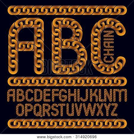 Vector English Alphabet Letters, Abc Collection. Capital Decorative Font Created Using Connected Cha