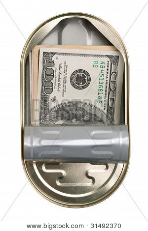 American Dollars In A Tin Can