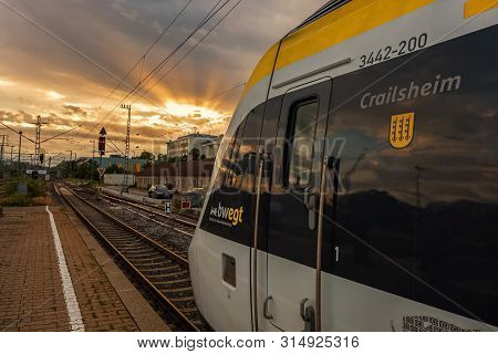 Boeblingen,germany - July 31,2019:train Station This Is A Modern Train Of The Local Line,which Trave