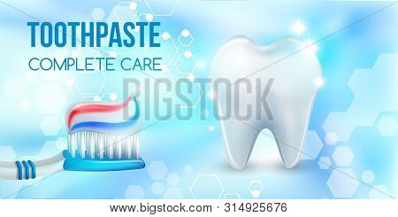 Dental Concept .healthy Tooth.oral Health Ads.blue Plastic Toothbrush With Toothpaste.3d, Realistic,