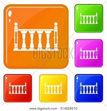 Balustrade Icons Set Collection Vector 6 Color Isolated On White Background
