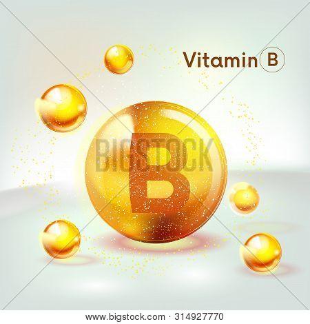 Vitamin B Gold Shining Icon. Ascorbic Acid. Shining Golden Substance Drop. Nutrition Skin Care. Vect