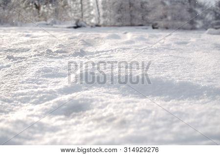 Fresh Snow Cover, Daytime Light At Winter. Fresh Snow Cover Snow Dunes, Winter Landscape