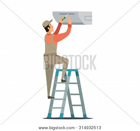 Service For Repair And Maintenance Of Air Conditioners. Illustration.