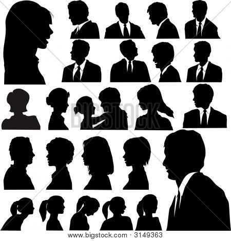 Silhouette People Portraits Heads Faces Shoulders Set.Eps
