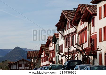 Basque Country, France ; Detail Of Typical Architecture And Orography