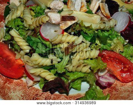 Light Food; Lettuce, Pasta, Tomato And Radish