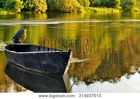 Lonely Boat, Mino River, Moncao, Border Between Portugal And Spain