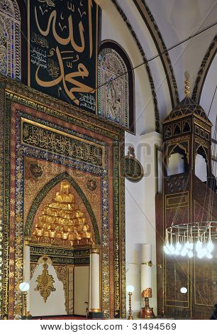 The beautifully decorated interior showing the Imam's station of the Grand Mosque at Bursa Turkey poster