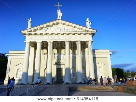 VILNIUS, LITHUANIA - JULY 30, 2019: The Cathedral Square (Katedros aikste), Vilnius Cathedral Basilica of St Stanislaus and St Ladislaus, 1783, Vilnius Old Town