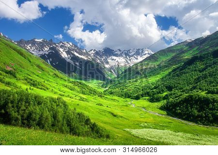 Mountains. Beautiful Landscape Of Mountain Valley. Scenic Mountains. Amazing Green Mountain Valley.