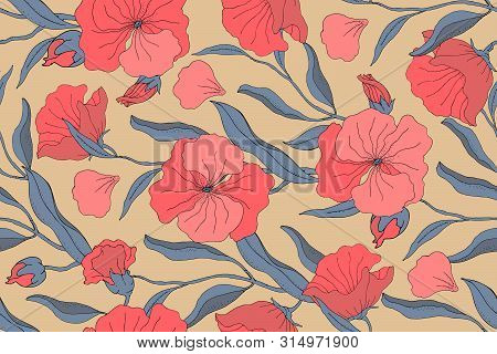 Art Floral Vector Seamless Pattern. Red Flowers With Branches, Leaves And Petals Isolated On Beige B