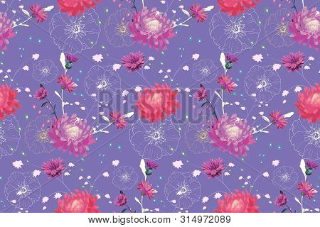 Art Floral Vector Seamless Pattern. Pink And Purple Asters, Purple Cornflowers, White Mallow. Vector