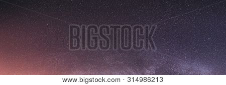 Real Colorful Night Sky Stars With Milky Way Galaxy. Natural Starry Sky Background. Panorama Panoram