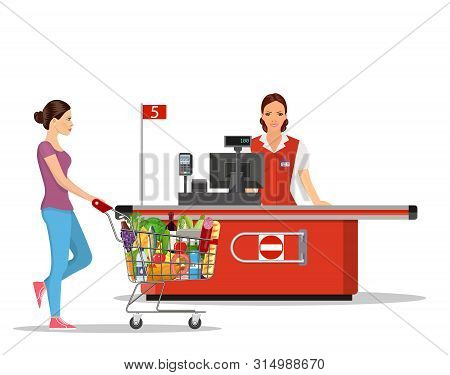 People Shopping In Supermarket. Woman Cashier In Supermarket. Cash Register, Cashier And Buyer With