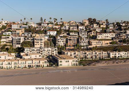 Aerial of ocean view beach housing in the Playa Vista neighborhood of Los Angeles, California.