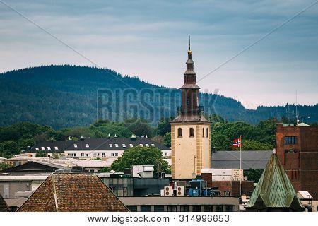 Oslo, Norway. View Of Swedish Margareta Church In Skyline. Church Of Sweden In Oslo, Norway.