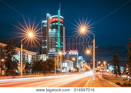Minsk, Belarus - September 2, 2016: Night Traffic On Illuminated Street Pobediteley Avenue In Minsk.