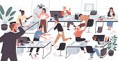 Unorganized office with lazy and unmotivated workers. Concept of difficulties and problems with organization at work, chaos, mess and disorder at workplace. Flat cartoon colorful vector illustration. poster