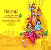 illustration of Lord Krishna playing bansuri flute in Happy Janmashtami festival background of India poster