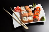 Japanese sushi seafood  and chopstick on a white plate poster