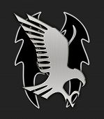 Symbol of attacking steel eagle on the dark background poster