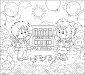 The first of September. Happy schoolchildren with schoolbags and colorful balloons standing in front of their school on a sunny day, black and white vector illustration in a cartoon style poster