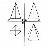 Projection plane of square pyramid - front, top, left side and pictorial view. Mechanical drawing. Geometrical 3D object for technical documentation, schoolbooks and design. Vector illustration. EPS10 poster
