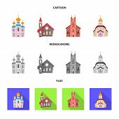 Isolated object of cult and temple icon. Collection of cult and parish vector icon for stock. poster