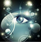 Abstract mystic psychedelic Galaxy night background with stars and woman opened eye poster