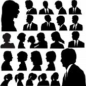 A set of men & women faces as head and shoulder profile silhouettes. Business people and others. poster