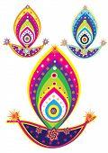 Indian oil lamp- culture art pattern design poster