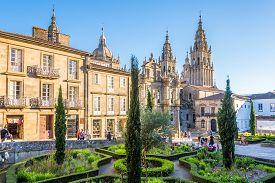 Santiago De Compostela,spain - May 14,2019 - At The Place Of Immaculada In Santiago De Compostela. S