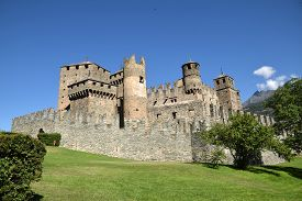 Overview Of The Castle Of Fenis In Aosta Valley - Italy