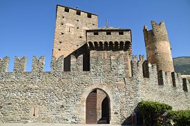 Detail Of The Entrance Of A Medieval Castle In Aosta Valley - Italy