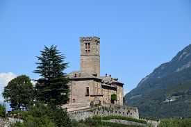 Panoramic View Of The Medieval Castle Of Sarre In The Middle Of The Alps Of The Aosta Valley - Italy