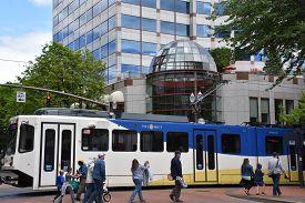 Portland, Oregon - Jun 8: Max Light Rail Streetcars In Portland, Oregon, As Seen On Jun 8, 2019. Own
