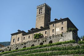 Close Up Of The Medieval Castle Of Sarre And Its Agricultural Estate Planted With Vines - Italy