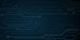 Futuristic Cyber Computer Circuit Background. Circuit Board. Electronic Network. Vector Illustration